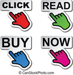vector hand pointing to the word stickers
