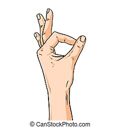Vector hand shoving ok gesture. Illustration in comic style isolated on white