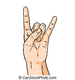 Vector hand shoving rock gesture. Illustration in comic style isolated on white