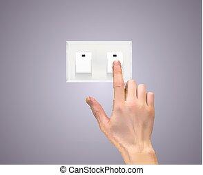 vector, hand, silhouette, 3d, switch, realistisch, licht, illustratie