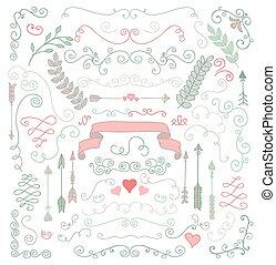 Vector Hand Sketched Rustic Floral Design Elements - Vector...