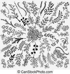 Vector Hand Sketched Rustic Floral Doodle Branches - Vector...