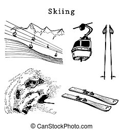 Vector hand sketches of skiing elements. Illustration set for poster, label etc.