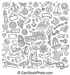vector, hand, symbolen, voorwerpen, nautisch, marinier