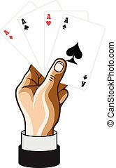Vector hand with game cards