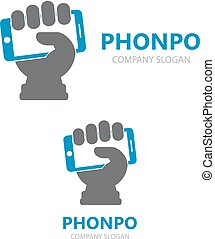 Vector hand with phone logo design template.