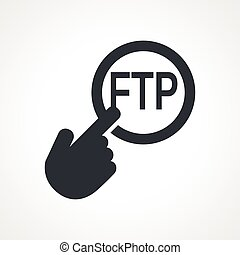 Vector hand with touching a button icon with word FTP