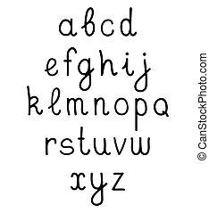 Vector hand written alphabet on white background.