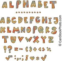 Vector hand written grungy english alphabet.