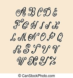 Vector Hand Written Old Swirl Lettering Alphabet Vintage Calligraphy Letters