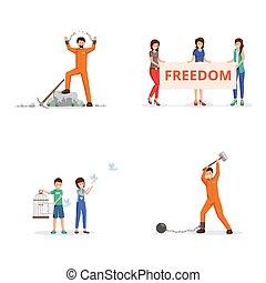 vector, handcuffs, birdcage., kettingen, vecht, geketeende, vrijheid, duiven, activists, persoon, demonstratie, vatting, gevangene, kosteloos, vrouwlijk, illustraties, plakkaat, tearing, kinderen, set.