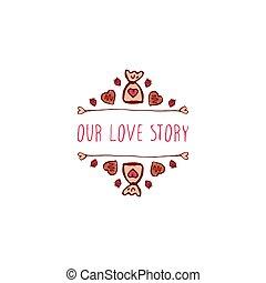Vector handdrawn badge for Saint Valentine's day