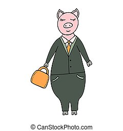Vector handdrawn illustration of a pig businessman in a suit with a briefcase.