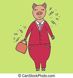 Vector handdrawn illustration of a pig businessman in a suit with a briefcase. Doodles.