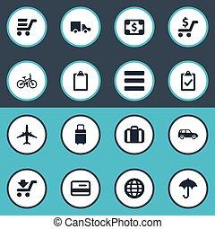 vector, handing, set, price., velocipede, eenvoudig,...