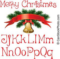 christmas alphabet - vector handmade christmas alphabet with...