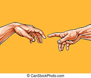 vector, hands., adán, ilustración