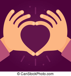 Vector hands in the form of heart