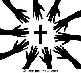 hands reaching cross