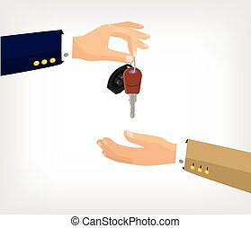 Vector hands with key