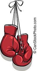 vector, handschoenen, boxing, hangend