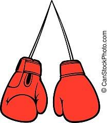 vector, handschoenen, boxing, illustratie, rood