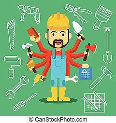Vector handsome builder