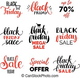 Vector handwritten Black Friday calligraphy set of Mega Sale etc. Lettering collection for discount cards or ad posters.
