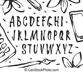 Vector handwritten brush font. Isolated on white background