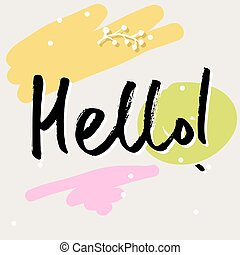 vector handwritten brush lettering, hello word
