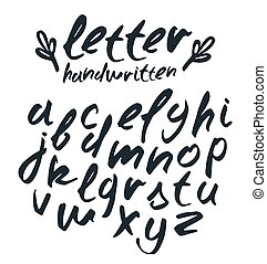 Vector handwritten brush script. Black letters isolated on...