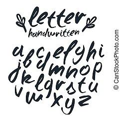 Vector handwritten brush script. Black letters isolated on white background