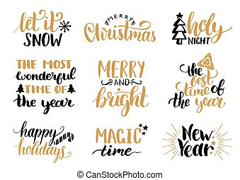 Vector handwritten Christmas and New Year calligraphy set ...