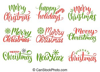 Vector handwritten Merry Christmas calligraphy set. Collection of Nativity and New Year lettering.