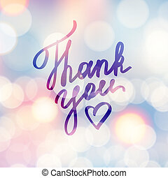 vector handwritten text, thank you, on background with lights