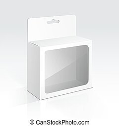 Vector Hanging Blank Box with Transparent Window