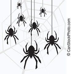 vector hanging spiders and web - vector illustration of...