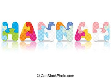 HANNAH written with alphabet puzzle - vector illustration