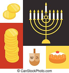 Vector hanukkah icons set, flat design