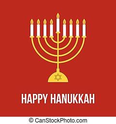 Vector Hanukkah Lamp, menorah festival, flat design