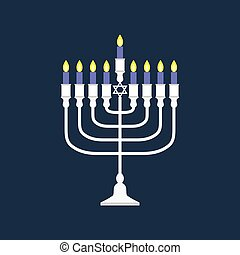 Vector hanukkah menorah, flat design