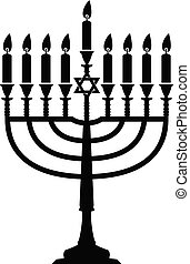 vector hanukkah menorah isolated on white background. jewish...