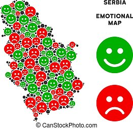 Vector Happiness Serbia Map Mosaic of Smileys - Emotion...