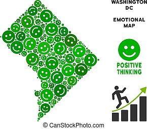 Vector Happiness Washington DC Map Collage of Smileys