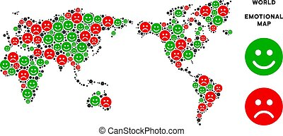 Vector Happiness World Map Mosaic of Smileys - Happiness and...