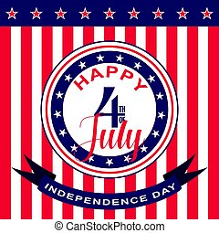 Vector Happy 4th of July background. USA Independence Day.