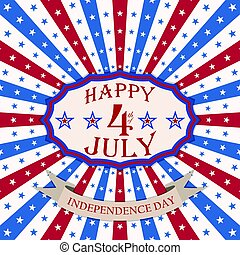 Vector Happy 4th of July background with stars and stripes. USA Independence Day festive design.