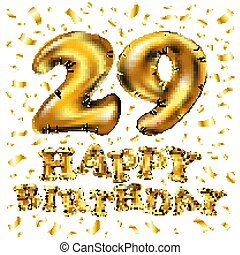 Vector happy birthday 49th celebration gold balloons and eps vector happy birthday 29rd celebration gold balloons and golden confetti glitters 3d illustration design for bookmarktalkfo Images