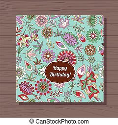 happy birthday card autumn flowers on wooden background