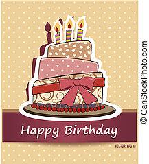 Vector happy birthday card. Birthday cake. Vector...